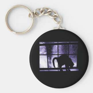 October Showers Cat Silhouette At Window 2 Indigo Key Chains