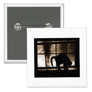 October Showers Cat Silhouette At Window 2 Orange Pinback Button