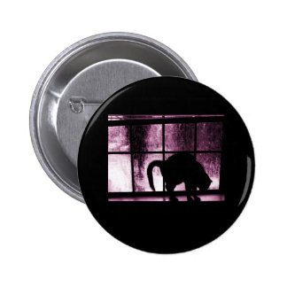 October Showers Cat Silhouette At Window 2 Pink Pinback Button