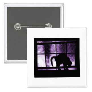 October Showers Cat Silhouette At Window 2 Purple Pinback Button