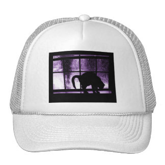October Showers Cat Silhouette At Window 2 Purple Trucker Hats