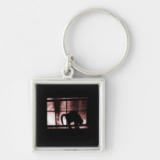 October Showers Cat Silhouette At Window 2 Red Key Chains