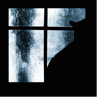 October Showers Cat Silhouette At Window Blue Photo Sculpture Decoration