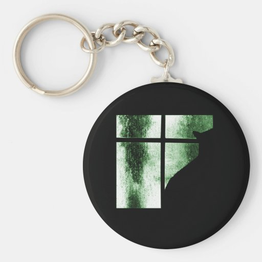 October Showers Cat Silhouette At Window Green Keychain