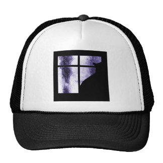 October Showers Cat Silhouette At Window Indigo Mesh Hats