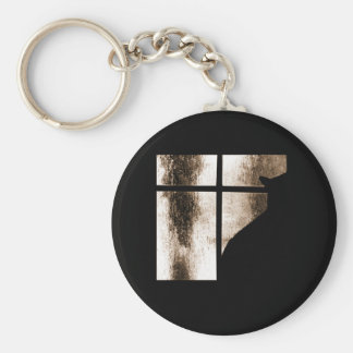 October Showers Cat Silhouette At Window Orange Key Chains