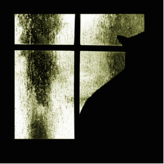 October Showers Cat Silhouette At Window Yellow Photo Sculpture