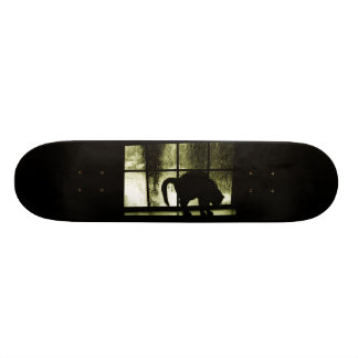 October Showers Cat Silhouette At Window Yellow Skate Board