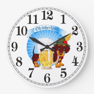 Octoberfest Dachshund Round (Large) Wall Clock