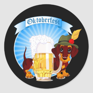 "Octoberfest Dachshund Sticker 1½"" (sheet of 20)"