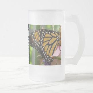 Octoberfest Frosted Glass Mugs Monarch Butterflies