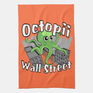 Octopii Wall Street - Occupy Wall St! Kitchen Towels