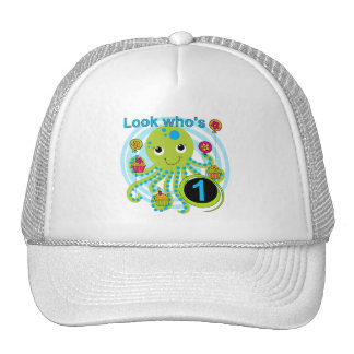Octopus 1st Birthday T-shirts and Gifts Trucker Hat