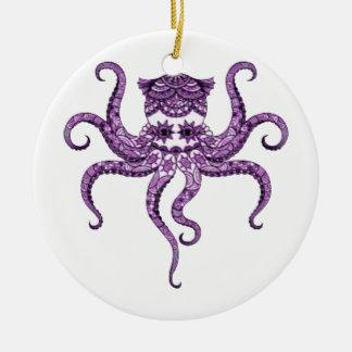 Octopus 2 round ceramic decoration