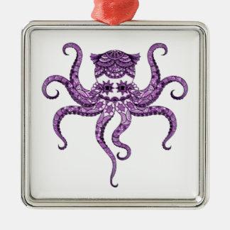 Octopus 2 Silver-Colored square decoration