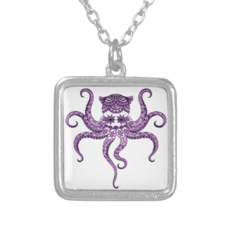 Octopus 2 silver plated necklace