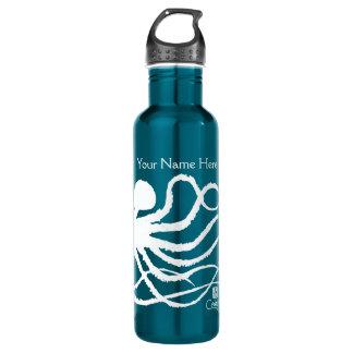 Octopus 2 White On Blue - 24 oz. Water Bottle