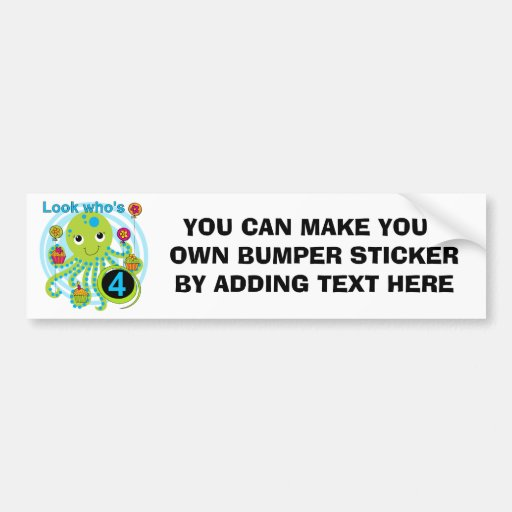 Octopus 4th Birthday T shirts and Gifts Bumper Stickers