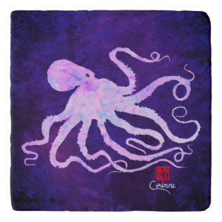 Octopus 6 In Light Pink - Marble Trivet