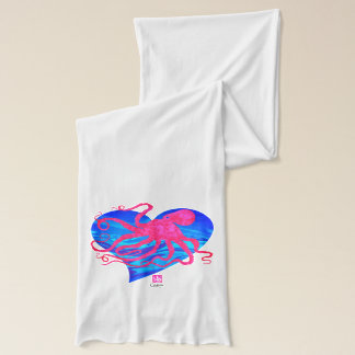 Octopus 6 on Blue ❤ - White Jersey Scarf
