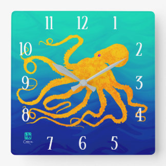Octopus 6 Yellow On Blue Green - Square Wall Clock