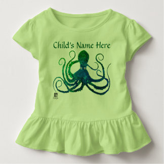 Octopus 8 In Green - Toddler Ruffled Tee