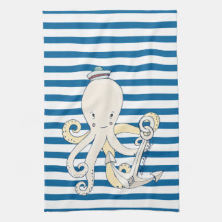 Octopus and Anchor Blue and White Stripe Towel