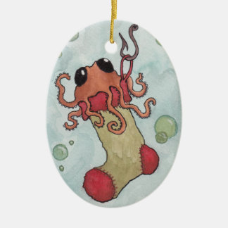 Octopus and Christmas Stocking Ceramic Oval Decoration