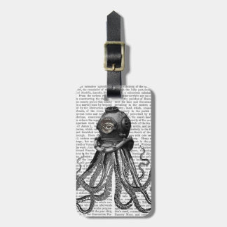 Octopus and Diving Helmet Luggage Tag