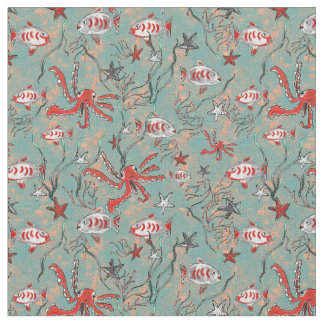 Octopus and Fish Fabric in Coral and Blue