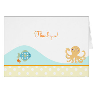 Octopus and Fish Folded Thank you note (Orange) Card