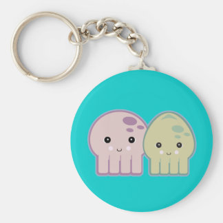 octopus and squid pals basic round button key ring