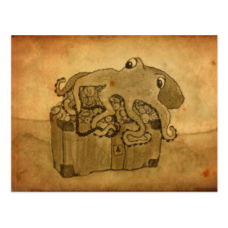 Octopus and Treasure Chest Postcard