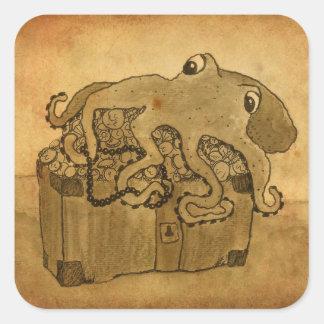 Octopus and Treasure Chest Square Sticker