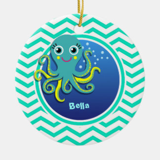 Octopus; Aqua Green Chevron Ceramic Ornament