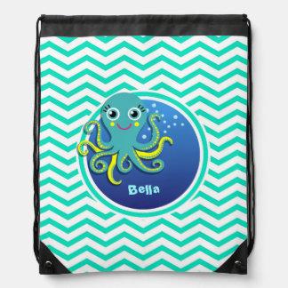Octopus Aqua Green Chevron Drawstring Backpacks