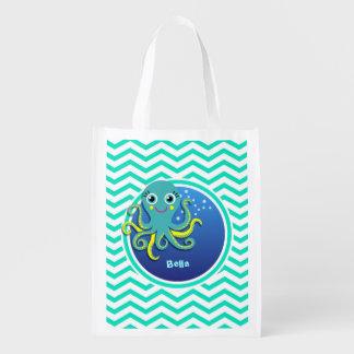 Octopus Aqua Green Chevron Grocery Bag