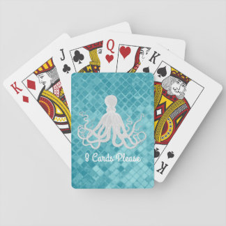 Octopus Aqua Sea Glass Personalize Playing Cards