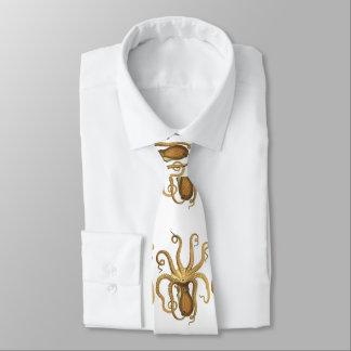octopus beige orange tie