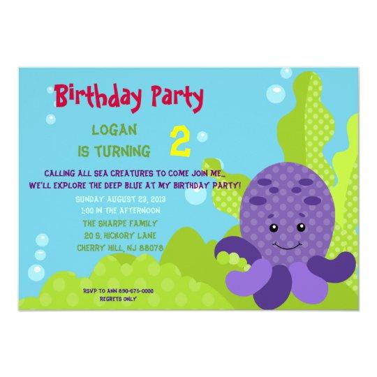 Octopus Birthday Invitation Zazzle Com Au
