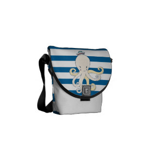 Octopus Blue and White Horizontal Stripe Bag Courier Bags