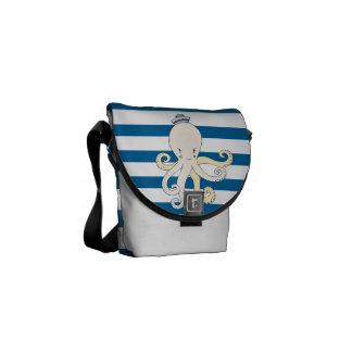 Octopus Blue and White Horizontal Stripe Bag Messenger Bags