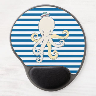 Octopus Blue and White Stripe Gel Mousepad