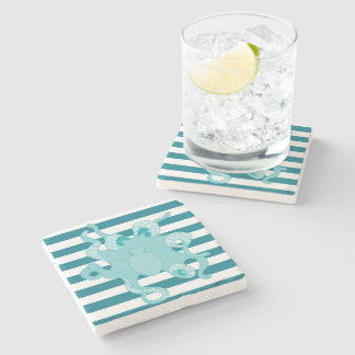 Octopus Blue Bold Stripes Marble Stone Coaster