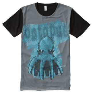 octopus blue gray background All-Over print T-Shirt