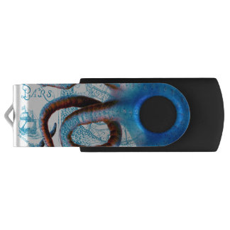 Octopus Blue Map USB Flash Drive
