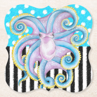 Octopus Blue Pattern Paper Coaster