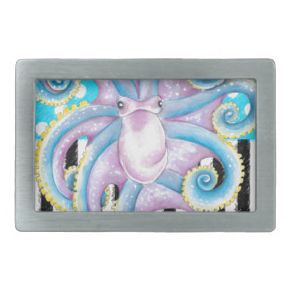 octopus blue polka dot belt buckles