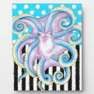 octopus blue polka dot plaque