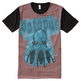 octopus blue red background All-Over print T-Shirt